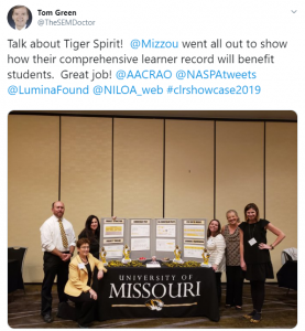 """Image of a tweet by @TheSEMDoctor: """"Talk about Tiger Spirit! Mizzou went all out to show how their comprehensive learner record will benefit students. Great job!"""""""